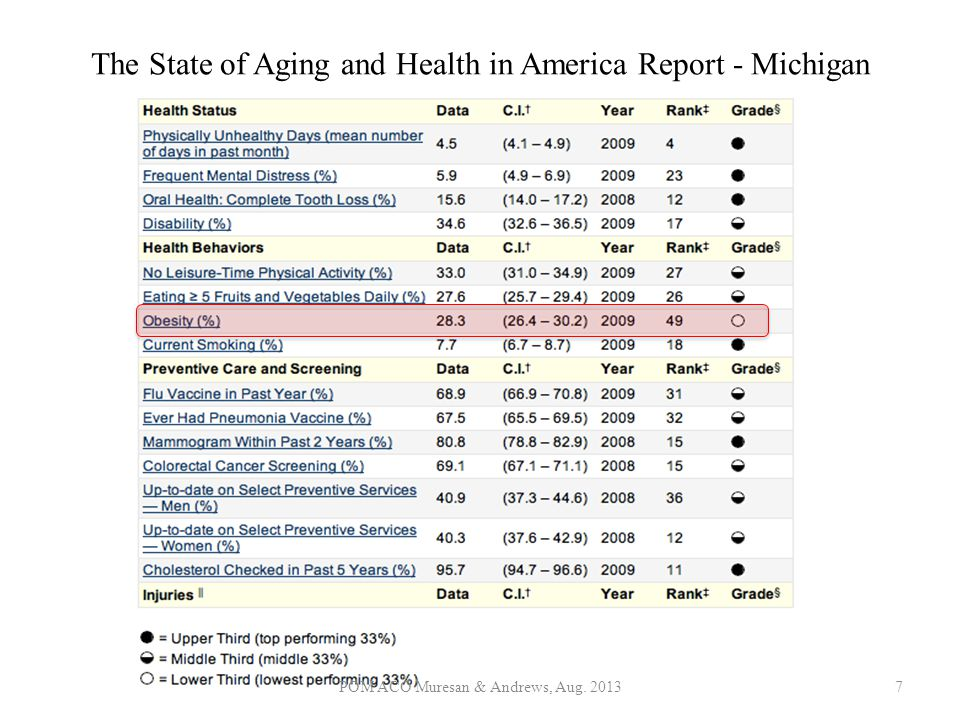 The State of Aging and Health in America Report - Michigan POM ACO Muresan & Andrews, Aug. 20137