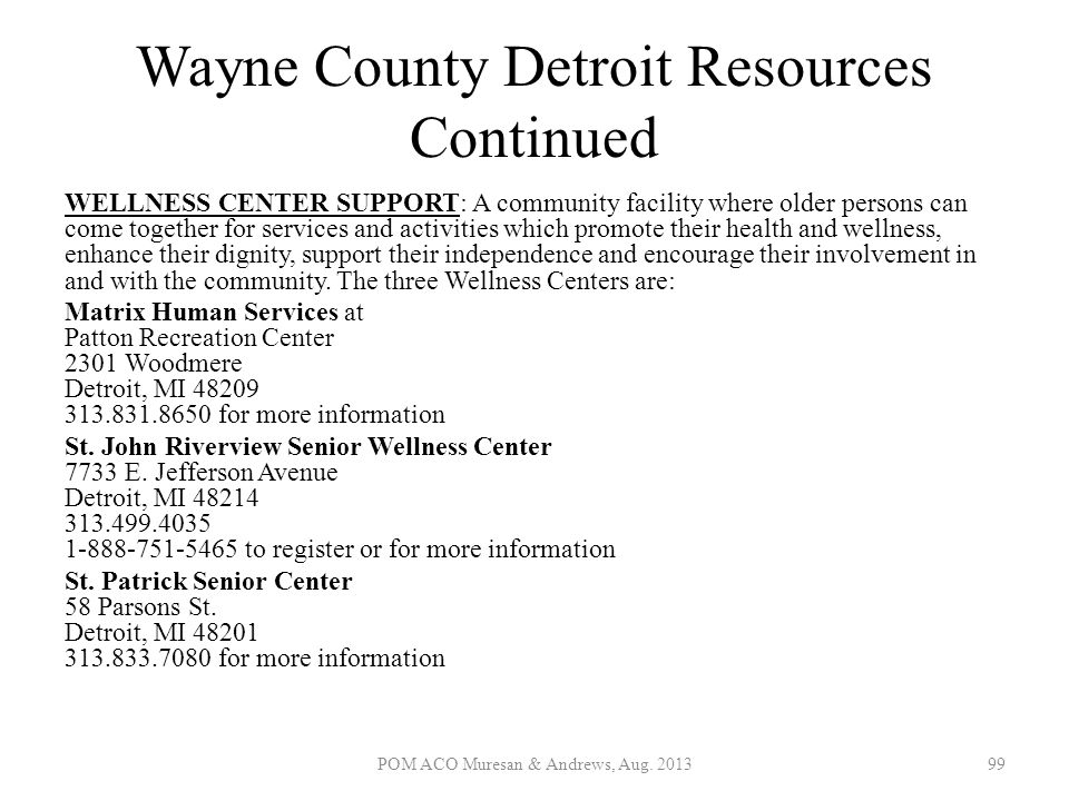 Wayne County Detroit Resources Continued WELLNESS CENTER SUPPORT: A community facility where older persons can come together for services and activiti