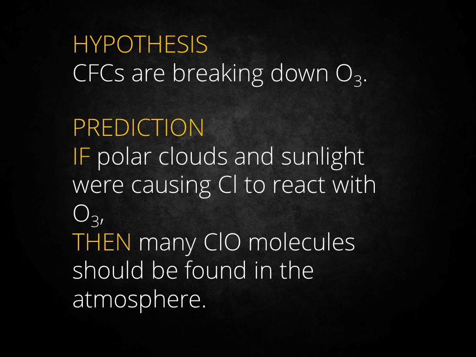 HYPOTHESIS CFCs are breaking down O 3. PREDICTION IF polar clouds and sunlight were causing Cl to react with O 3, THEN many ClO molecules should be fo