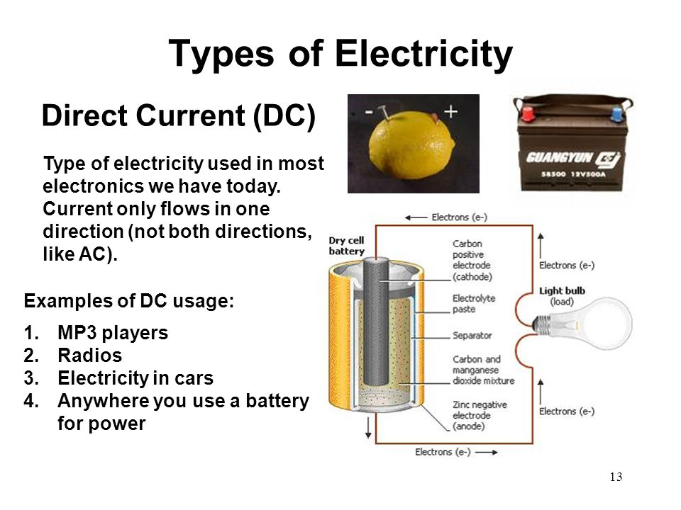Types of Electricity Direct Current (DC) Type of electricity used in most electronics we have today. Current only flows in one direction (not both dir