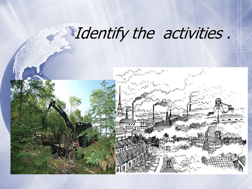 Identify the activities.