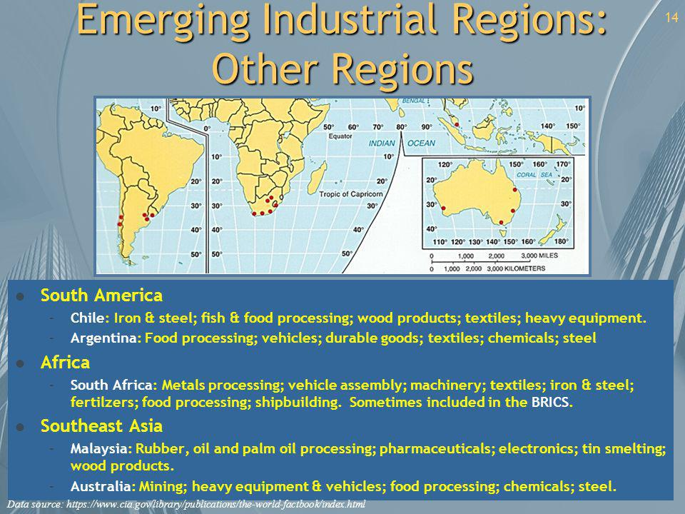 Emerging Industrial Regions: Other Regions l South America –Chile: Iron & steel; fish & food processing; wood products; textiles; heavy equipment. –Ar