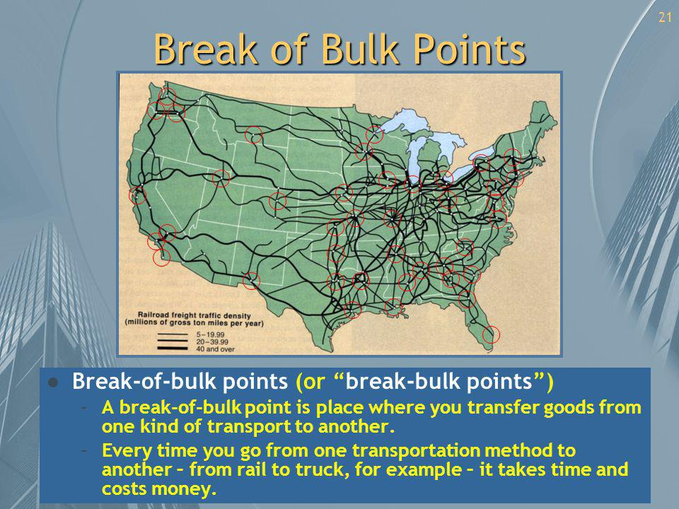 21 Break of Bulk Points l Break-of-bulk points (or break-bulk points) –A break-of-bulk point is place where you transfer goods from one kind of transp