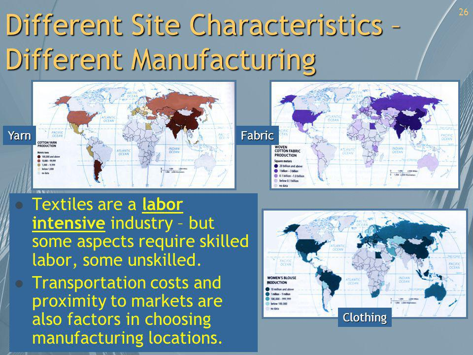 Different Site Characteristics – Different Manufacturing l Textiles are a labor intensive industry – but some aspects require skilled labor, some unsk