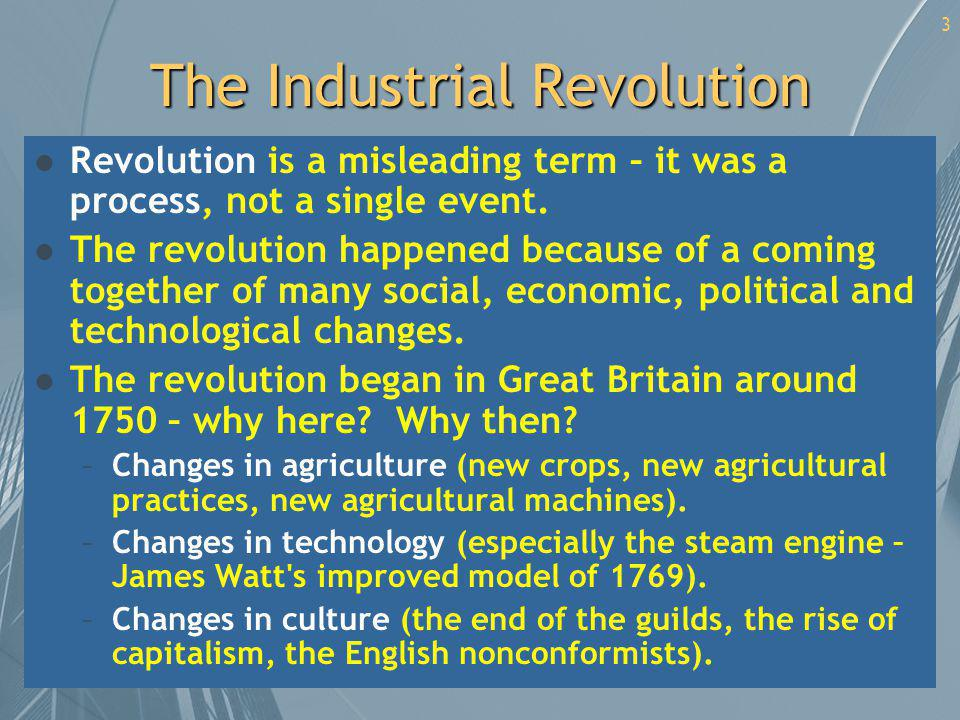 4 Diffusion of the Revolution: By Industry l Iron, steel and coal [more iron means more need for coal, which means more transportation, which means more use for iron, means better engineering, etc.] l Chemicals, textiles and food [new machines meant more cloth, which meant more need for dyes and bleaches, which meant more and better chemistry, which lead to new ways to preserve food, etc.] l Ceramics [new methods meant cheaper, better ceramics, which meant individual plates and bowls, which improved sanitation, which also lead to the development of ceramic sewer pipes, toilets, etc.]
