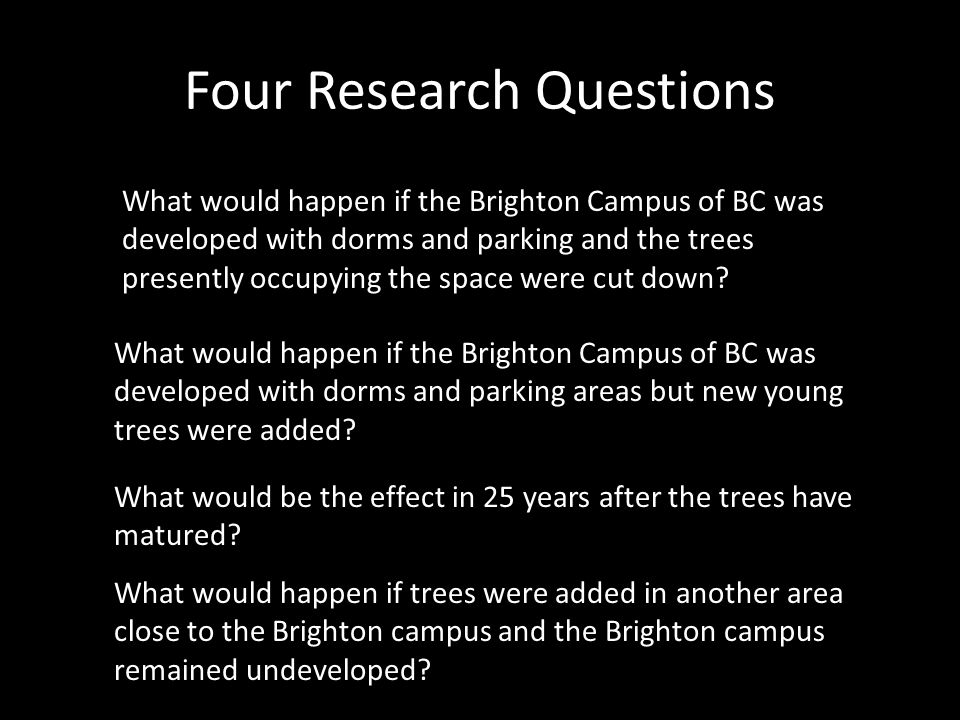 What would happen if the Brighton Campus of BC was developed with dorms and parking and the trees presently occupying the space were cut down.