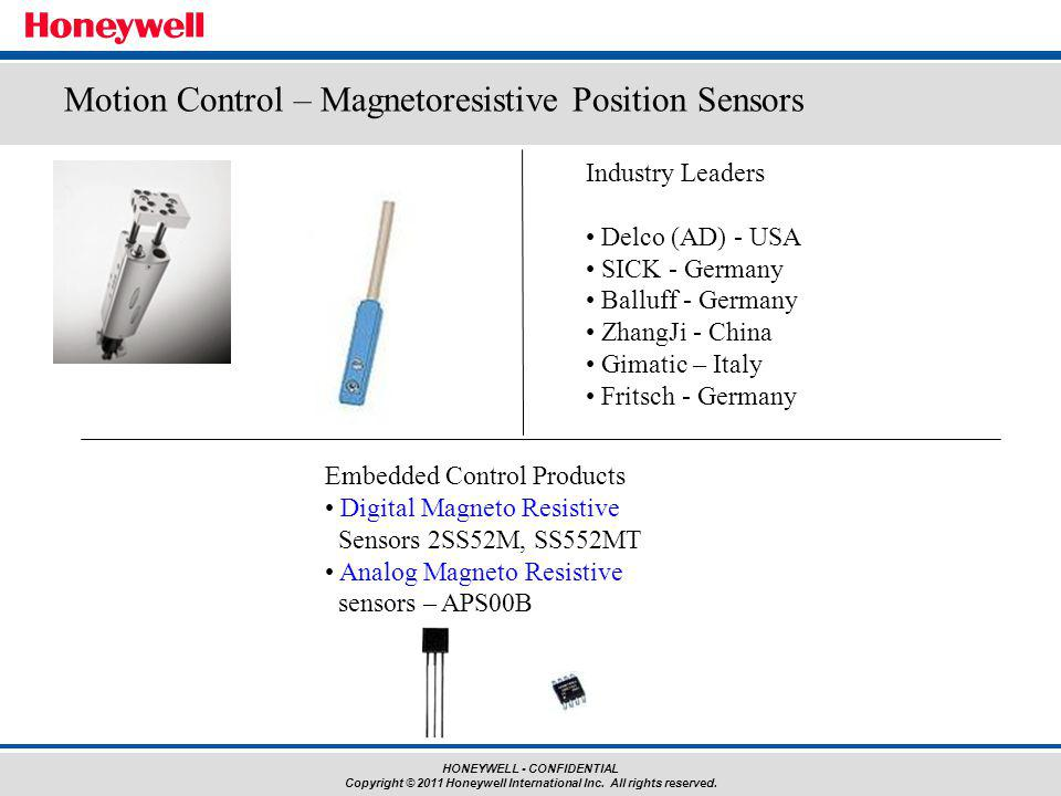 HONEYWELL - CONFIDENTIAL Copyright © 2011 Honeywell International Inc. All rights reserved. Embedded Control Products Digital Magneto Resistive Sensor