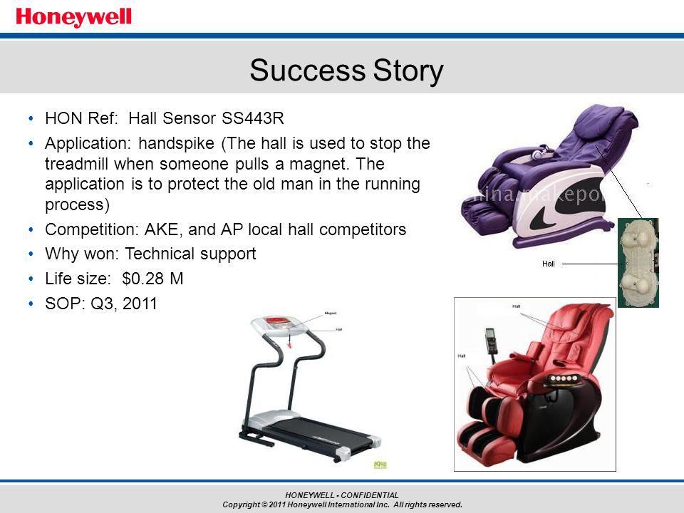 HONEYWELL - CONFIDENTIAL Copyright © 2011 Honeywell International Inc. All rights reserved. HON Ref: Hall Sensor SS443R Application: handspike (The ha