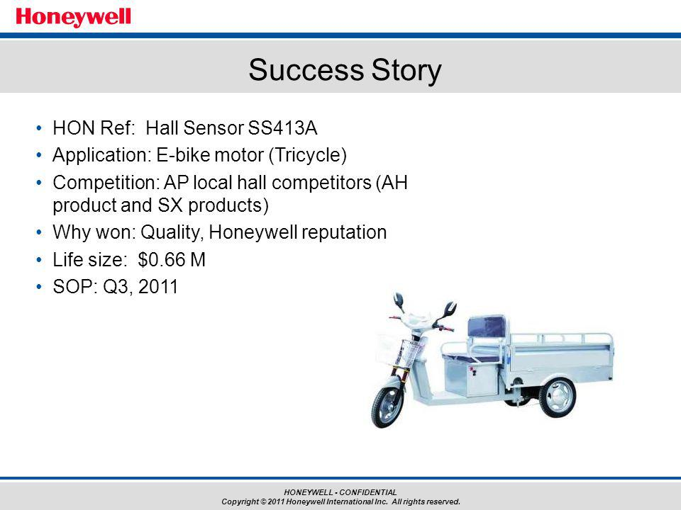 HONEYWELL - CONFIDENTIAL Copyright © 2011 Honeywell International Inc. All rights reserved. HON Ref: Hall Sensor SS413A Application: E-bike motor (Tri