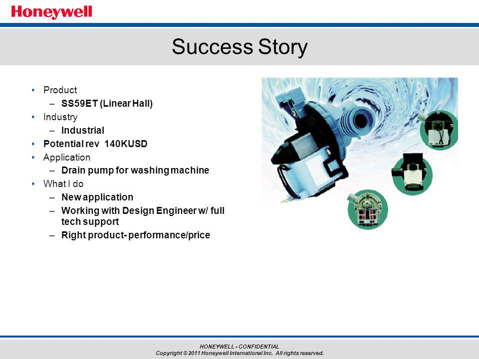 HONEYWELL - CONFIDENTIAL Copyright © 2011 Honeywell International Inc. All rights reserved. Product –SS59ET (Linear Hall) Industry –Industrial Potenti