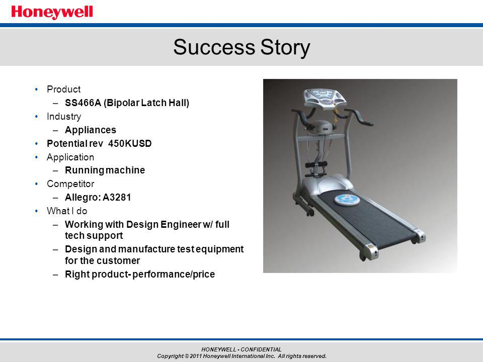 HONEYWELL - CONFIDENTIAL Copyright © 2011 Honeywell International Inc. All rights reserved. Success Story Product –SS466A (Bipolar Latch Hall) Industr