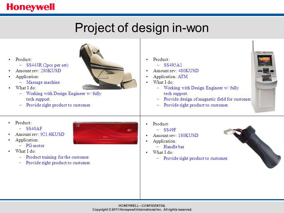 HONEYWELL - CONFIDENTIAL Copyright © 2011 Honeywell International Inc. All rights reserved. Project of design in-won Product: –SS443R (2pcs per set) A