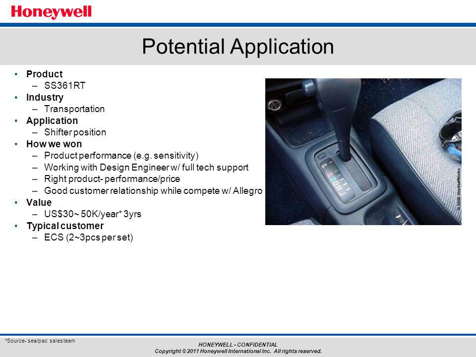 HONEYWELL - CONFIDENTIAL Copyright © 2011 Honeywell International Inc. All rights reserved. Product –SS361RT Industry –Transportation Application –Shi