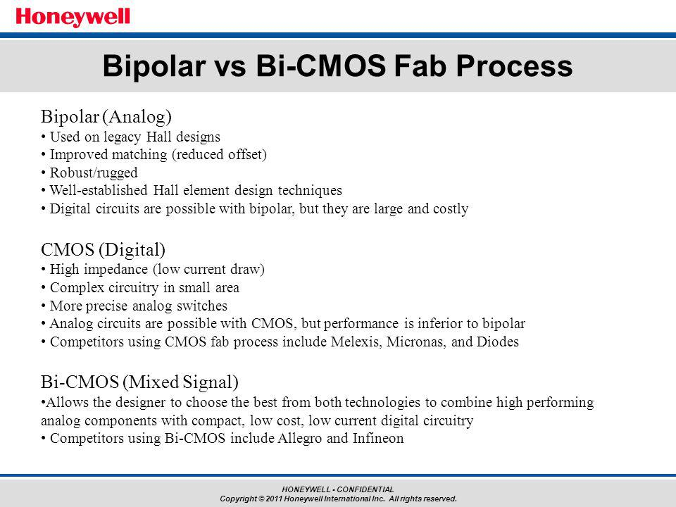 HONEYWELL - CONFIDENTIAL Copyright © 2011 Honeywell International Inc. All rights reserved. Bipolar vs Bi-CMOS Fab Process Bipolar (Analog) Used on le