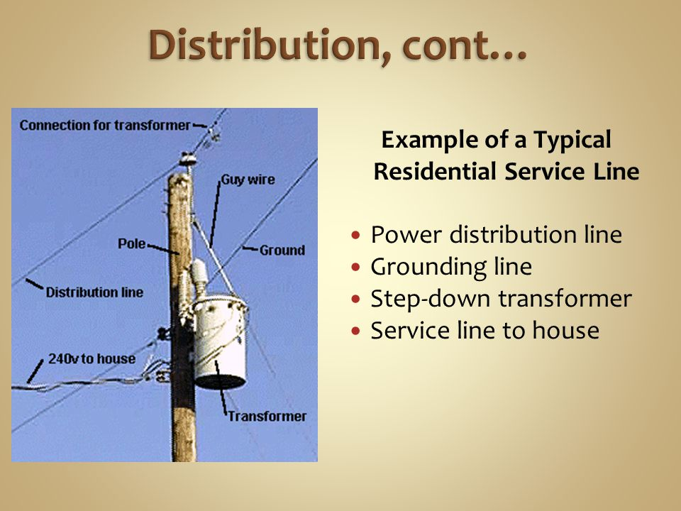 Example of a Typical Residential Service Line Power distribution line Grounding line Step-down transformer Service line to house