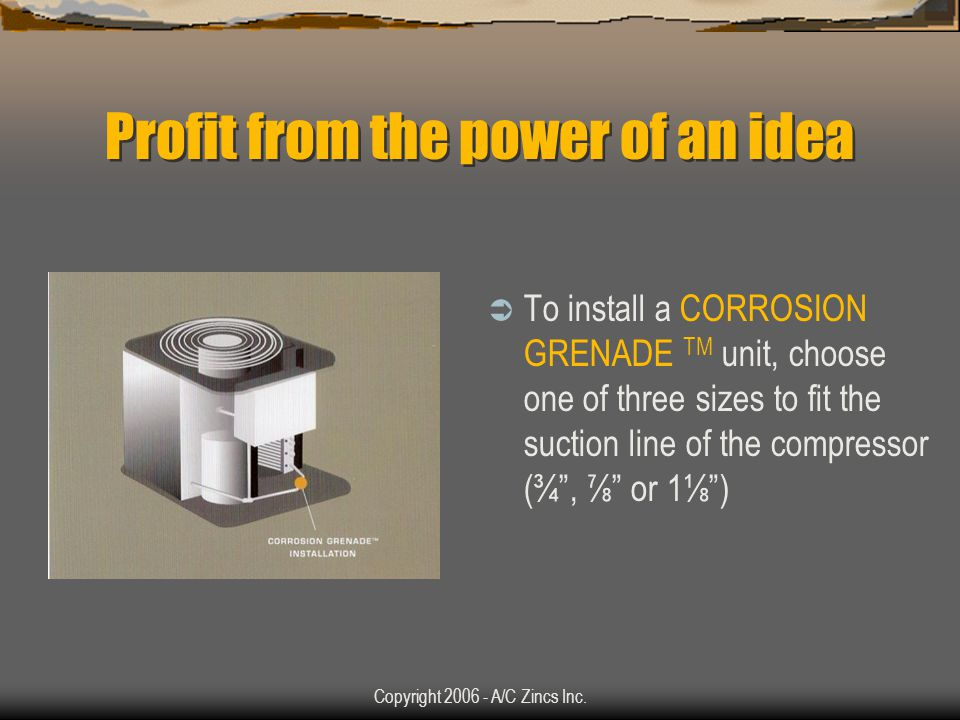 Copyright 2006 - A/C Zincs Inc. Profit from the power of an idea The HVAC/R industrys greatest need is to protect expensive equipment inexpensively Ta