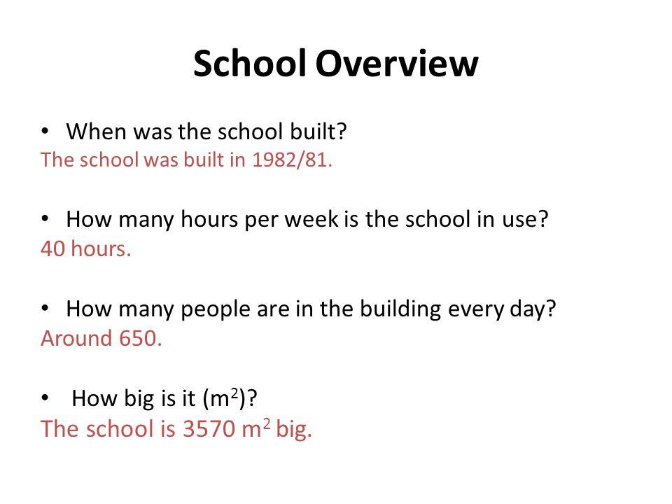 School Overview When was the school built. The school was built in 1982/81.