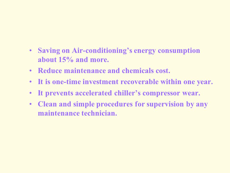 Saving on Air-conditionings energy consumption about 15% and more.