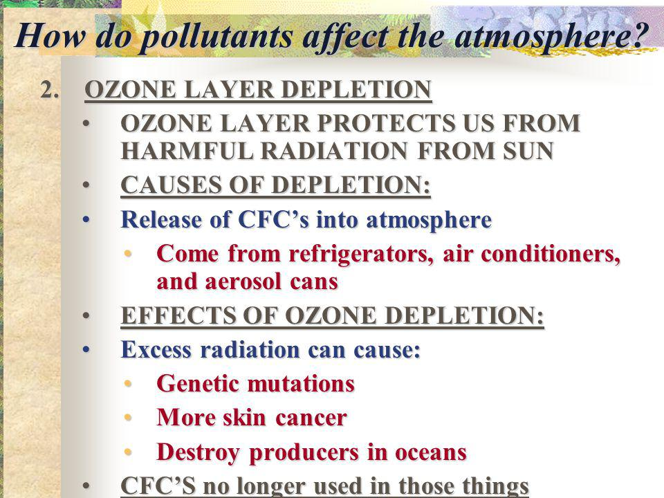 How do pollutants affect the atmosphere.