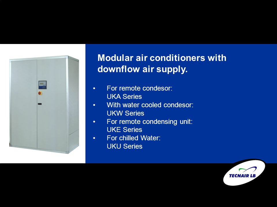 Modular air conditioners with downflow air supply.