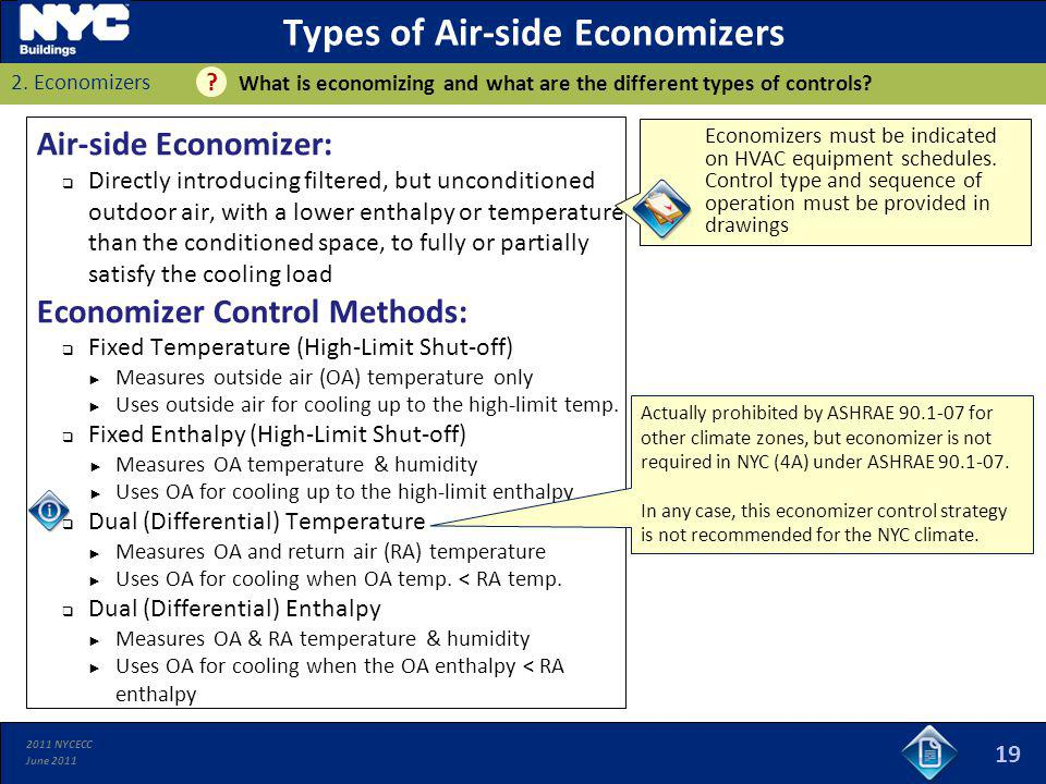 2011 NYCECC June 2011 Types of Air-side Economizers Air-side Economizer: Directly introducing filtered, but unconditioned outdoor air, with a lower en