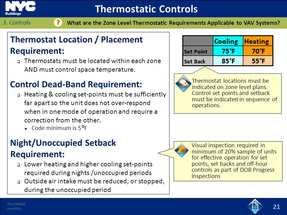 2011 NYCECC June 2011 Thermostatic Controls Thermostat Location / Placement Requirement: Thermostats must be located within each zone AND must control