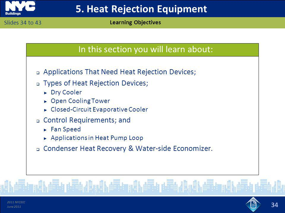 2011 NYCECC June 2011 5. Heat Rejection Equipment Applications That Need Heat Rejection Devices; Types of Heat Rejection Devices; Dry Cooler Open Cool