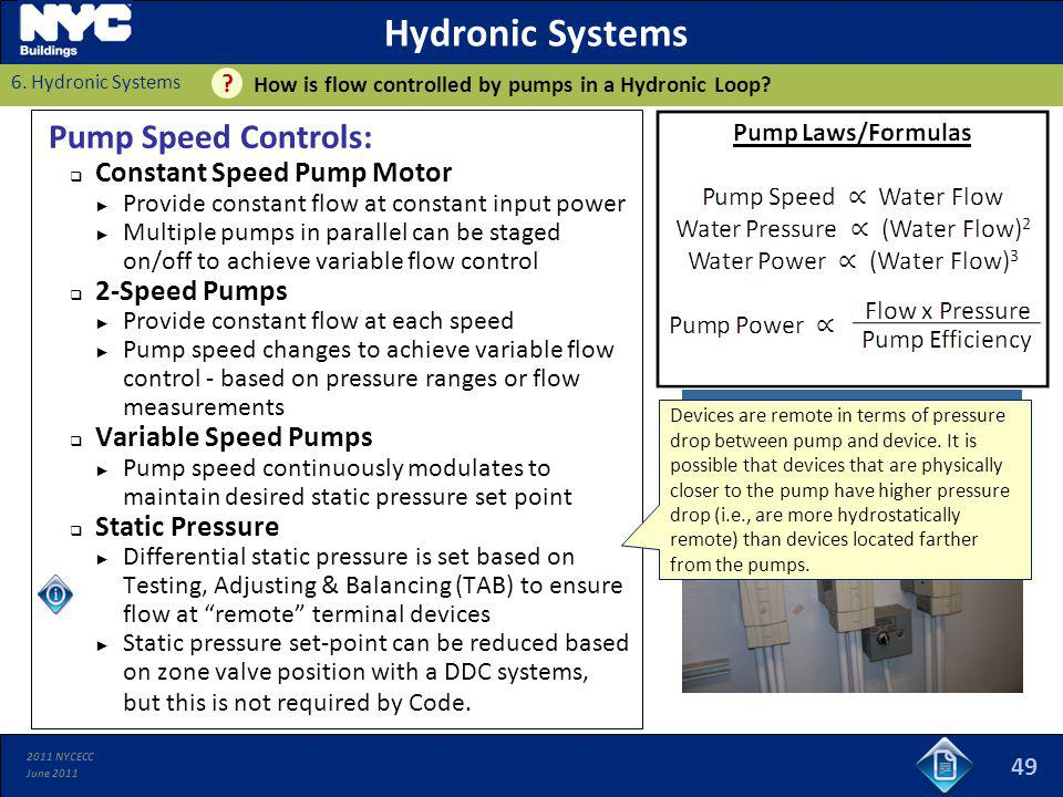 2011 NYCECC June 2011 Hydronic Systems Pump Speed Controls: Constant Speed Pump Motor Provide constant flow at constant input power Multiple pumps in