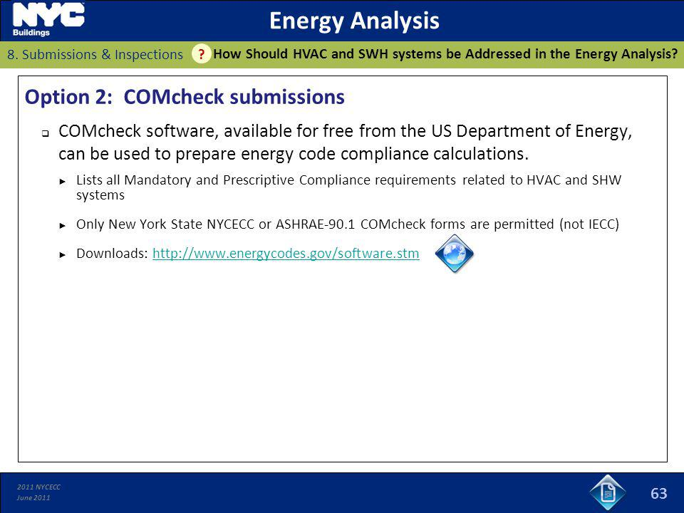 2011 NYCECC June 2011 63 Energy Analysis How Should HVAC and SWH systems be Addressed in the Energy Analysis? 8. Submissions & Inspections ? Option 2: