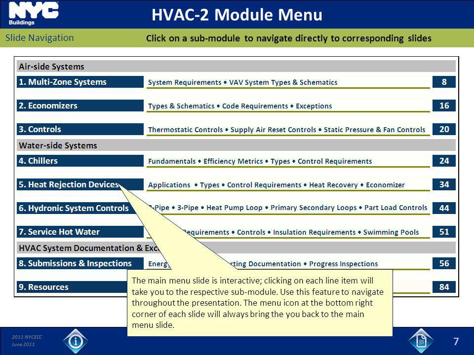 2011 NYCECC June 2011 HVAC-2 Module Menu Click on a sub-module to navigate directly to corresponding slides Slide Navigation 7 The main menu slide is