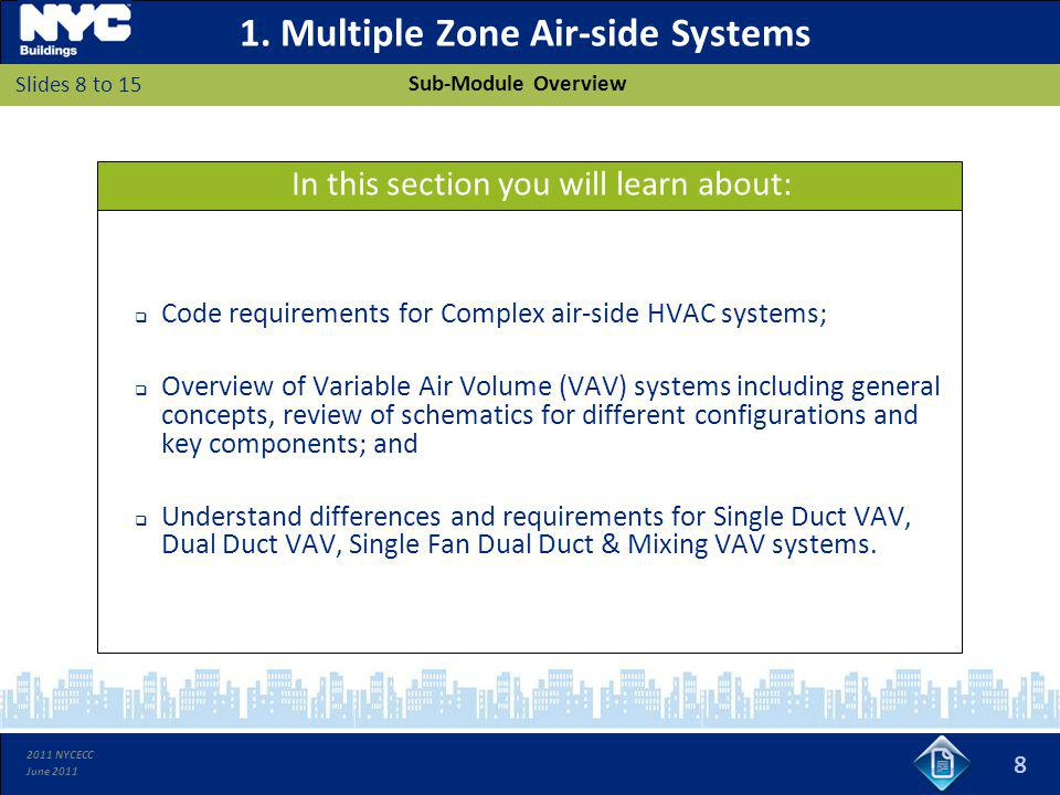 2011 NYCECC June 2011 1. Multiple Zone Air-side Systems Code requirements for Complex air-side HVAC systems; Overview of Variable Air Volume (VAV) sys