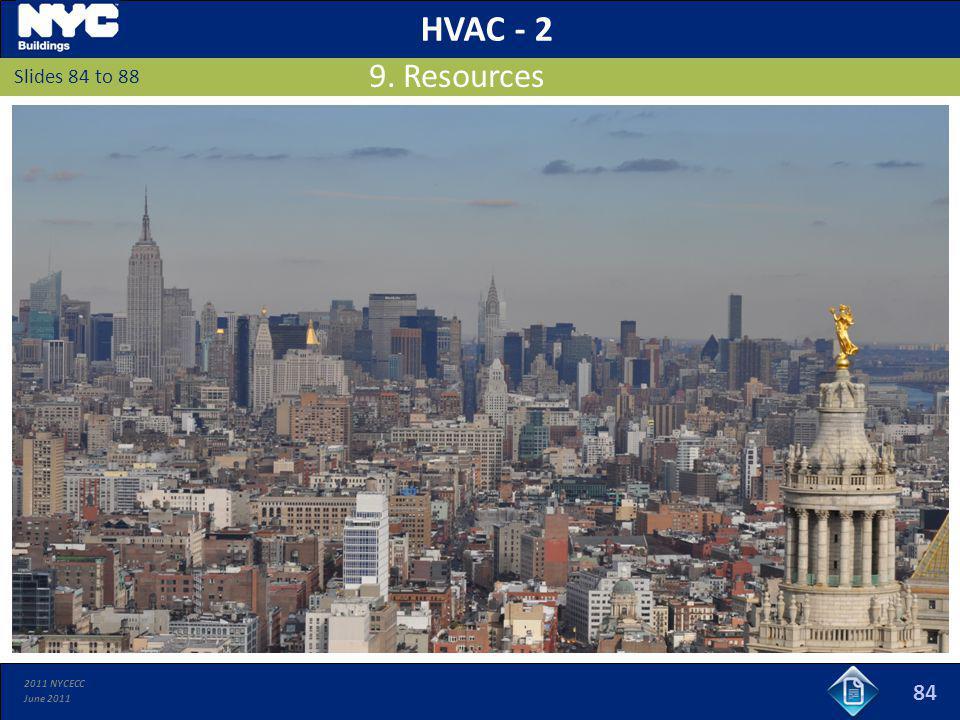 2011 NYCECC June 2011 Slides 84 to 88 9. Resources HVAC - 2 84