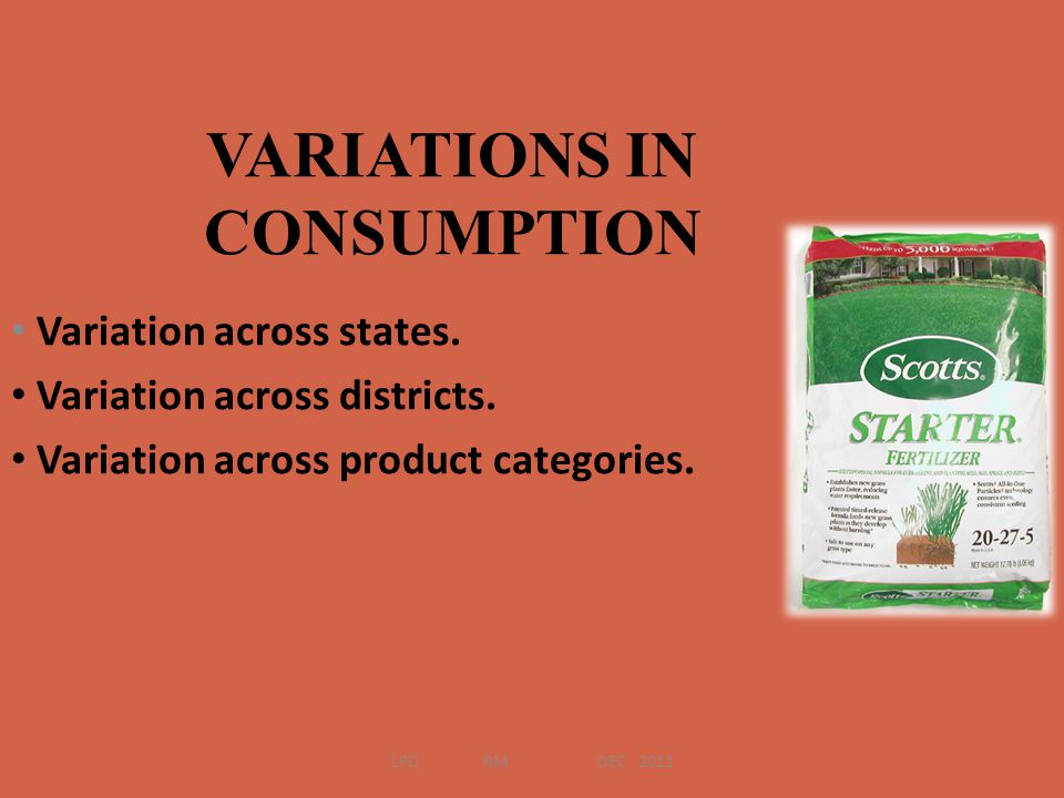 Variation across states. Variation across districts. Variation across product categories. VARIATIONS IN CONSUMPTION LPD RM DEC 2011