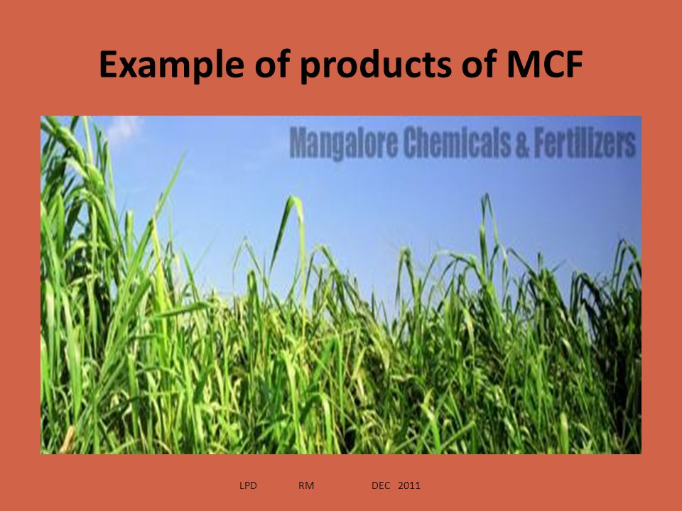Example of products of MCF LPD RM DEC 2011