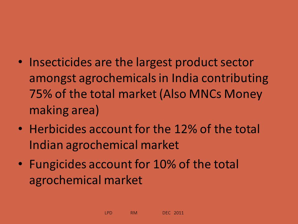 Insecticides are the largest product sector amongst agrochemicals in India contributing 75% of the total market (Also MNCs Money making area) Herbicid