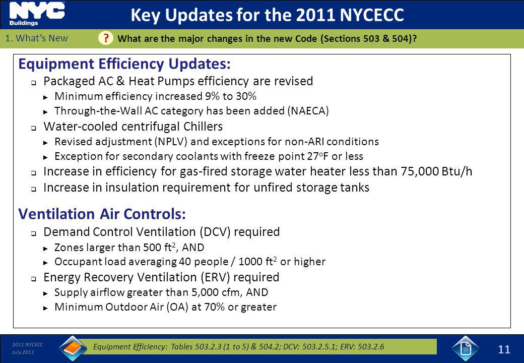 2011 NYCECC July 2011 Key Updates for the 2011 NYCECC Equipment Efficiency Updates: Packaged AC & Heat Pumps efficiency are revised Minimum efficiency