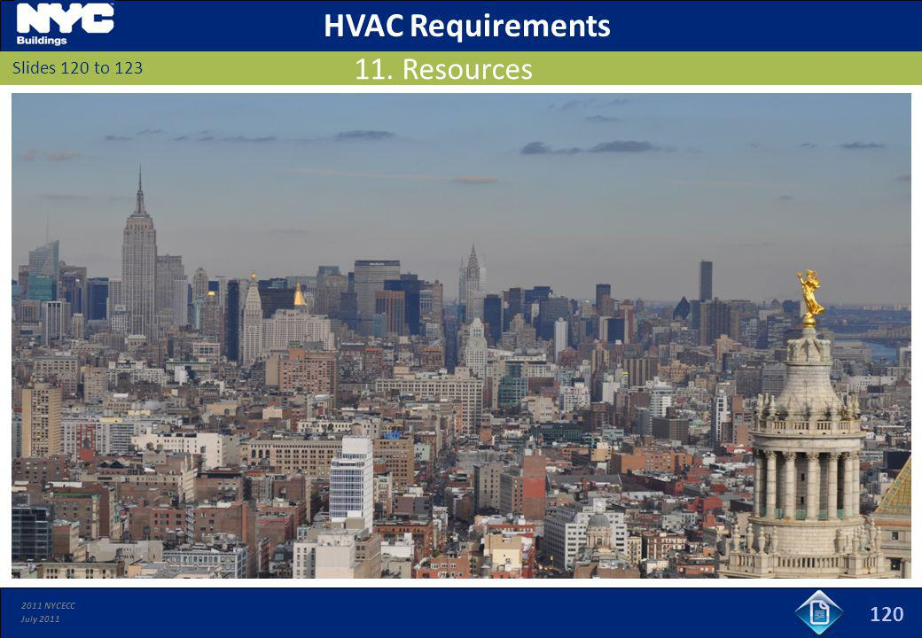 2011 NYCECC July 2011 120 Slides 120 to 123 11. Resources HVAC Requirements