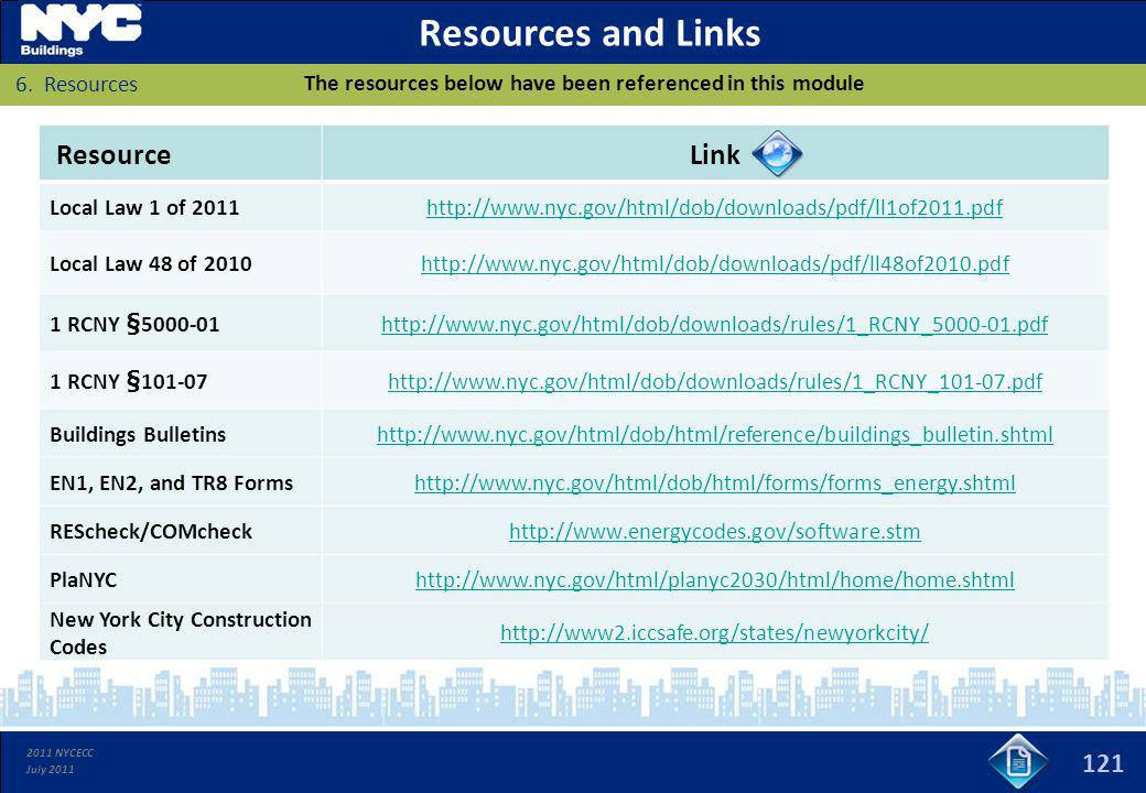 2011 NYCECC July 2011 Resources and Links 121 The resources below have been referenced in this module ResourceLink Local Law 1 of 2011http://www.nyc.g