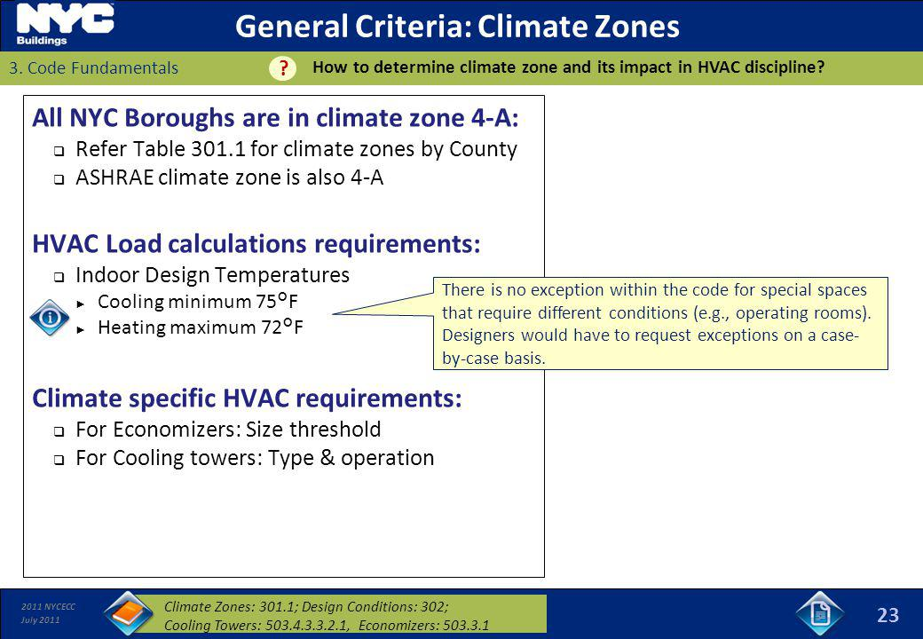 2011 NYCECC July 2011 General Criteria: Climate Zones All NYC Boroughs are in climate zone 4-A: Refer Table 301.1 for climate zones by County ASHRAE c