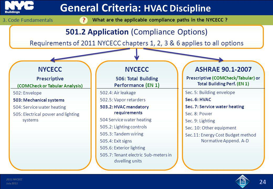 2011 NYCECC July 2011 ASHRAE 90.1-2007 Prescriptive (COMCheck/Tabular) or Total Building Perf. (EN 1) 24 501.2 Application (Compliance Options) Requir