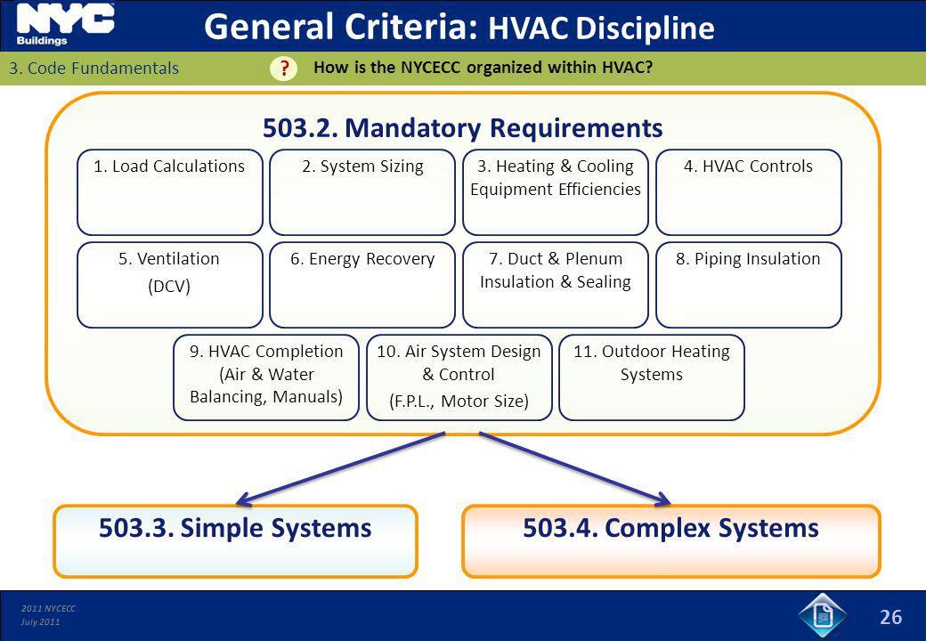 2011 NYCECC July 2011 26 503.2. Mandatory Requirements 1. Load Calculations 503.4. Complex Systems503.3. Simple Systems 2. System Sizing3. Heating & C