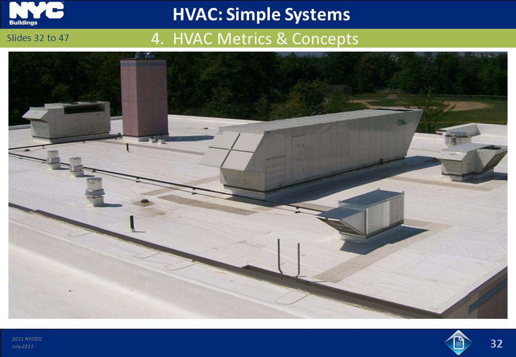2011 NYCECC July 2011 32 Slides 32 to 47 HVAC: Simple Systems 4. HVAC Metrics & Concepts