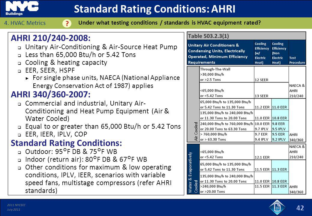 2011 NYCECC July 2011 Standard Rating Conditions: AHRI AHRI 210/240-2008: Unitary Air-Conditioning & Air-Source Heat Pump Less than 65,000 Btu/h or 5.