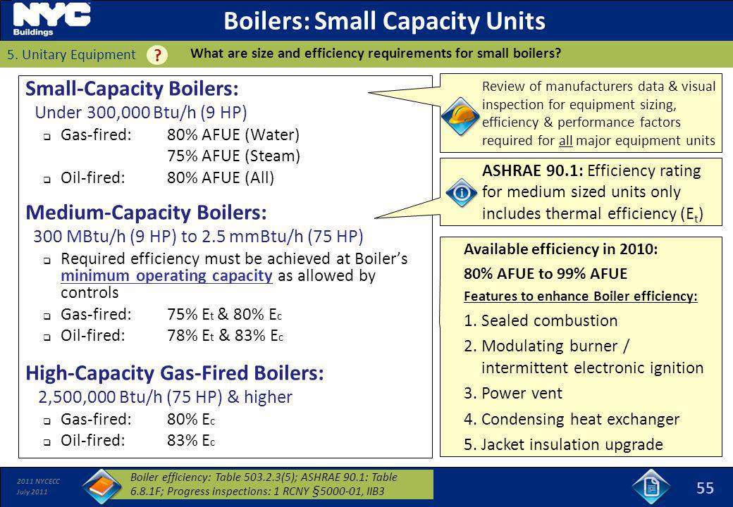 2011 NYCECC July 2011 Available efficiency in 2010: 80% AFUE to 99% AFUE Features to enhance Boiler efficiency: 1.Sealed combustion 2.Modulating burne