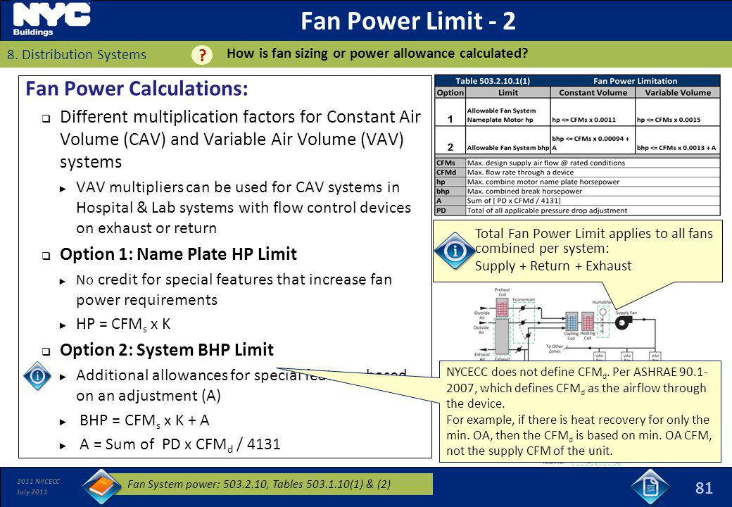 2011 NYCECC July 2011 Total Fan Power Limit applies to all fans combined per system: Supply + Return + Exhaust Fan Power Limit - 2 Fan Power Calculati