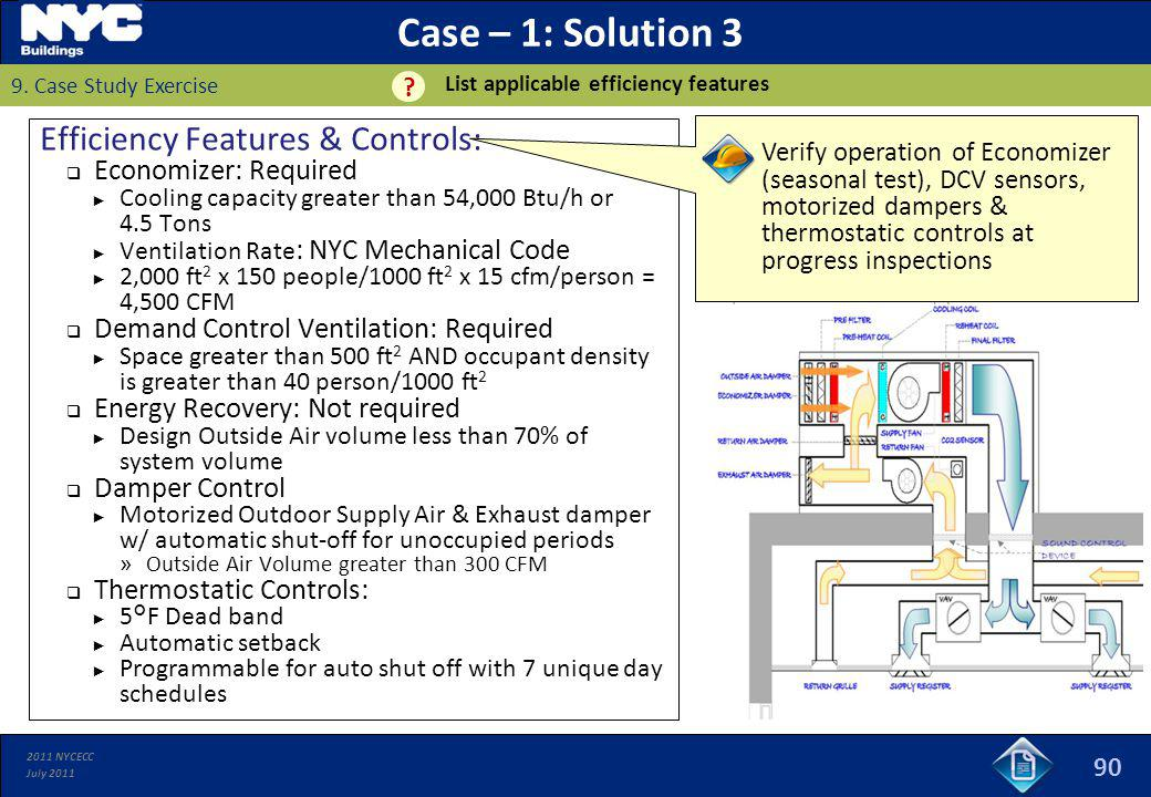 2011 NYCECC July 2011 Case – 1: Solution 3 Efficiency Features & Controls: Economizer: Required Cooling capacity greater than 54,000 Btu/h or 4.5 Tons