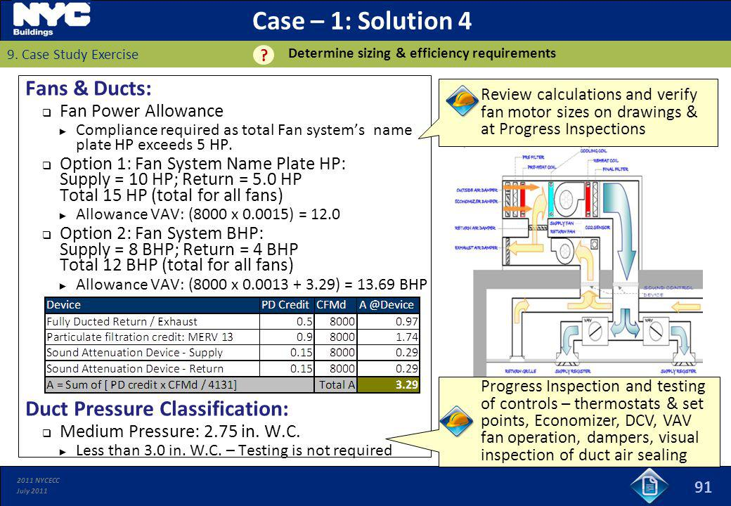 2011 NYCECC July 2011 Case – 1: Solution 4 Fans & Ducts: Fan Power Allowance Compliance required as total Fan systems name plate HP exceeds 5 HP. Opti