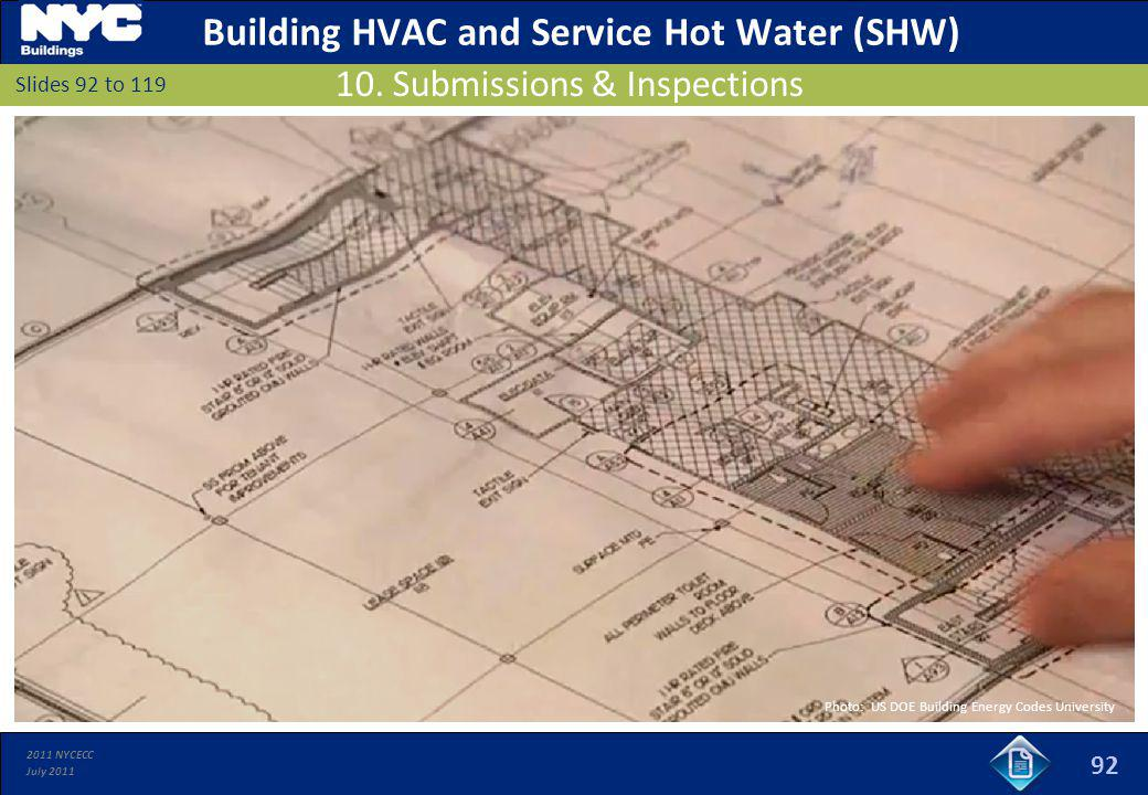 2011 NYCECC July 2011 92 Slides 92 to 119 10. Submissions & Inspections Building HVAC and Service Hot Water (SHW) Photo: US DOE Building Energy Codes