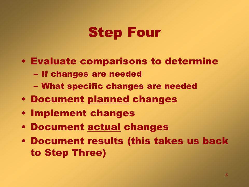 6 Step Four Evaluate comparisons to determine –If changes are needed –What specific changes are needed Document planned changes Implement changes Document actual changes Document results (this takes us back to Step Three)