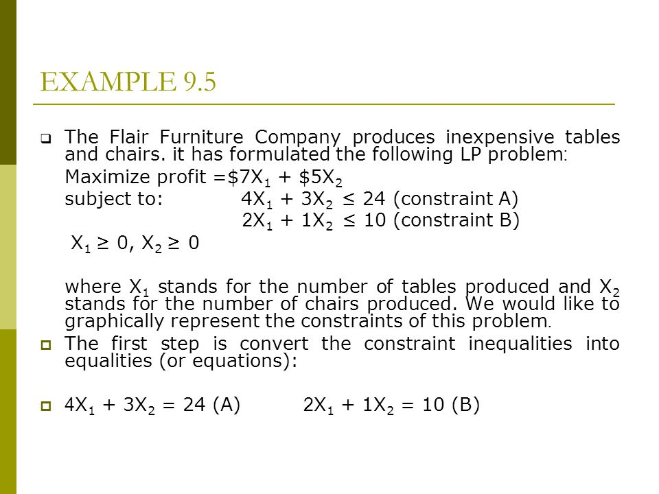 EXAMPLE 9.5 The Flair Furniture Company produces inexpensive tables and chairs. it has formulated the following LP problem: Maximize profit =$7X 1 + $